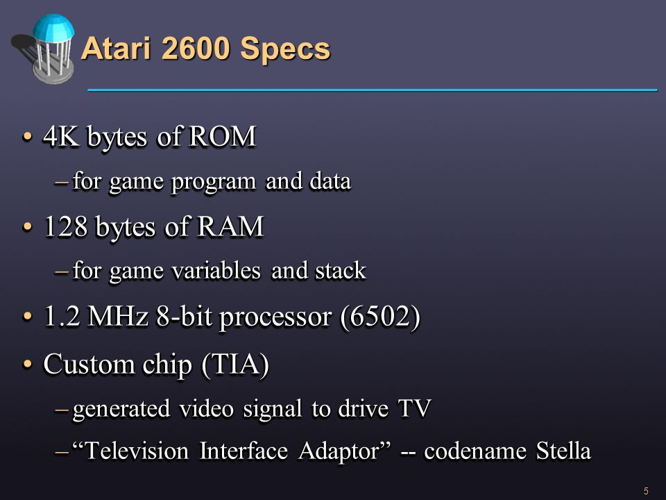 5 Atari 2600 Specs 4K bytes of ROM4K bytes of ROM –for game program and data 128 bytes of RAM128 bytes of RAM –for game variables and stack 1.2 MHz 8-
