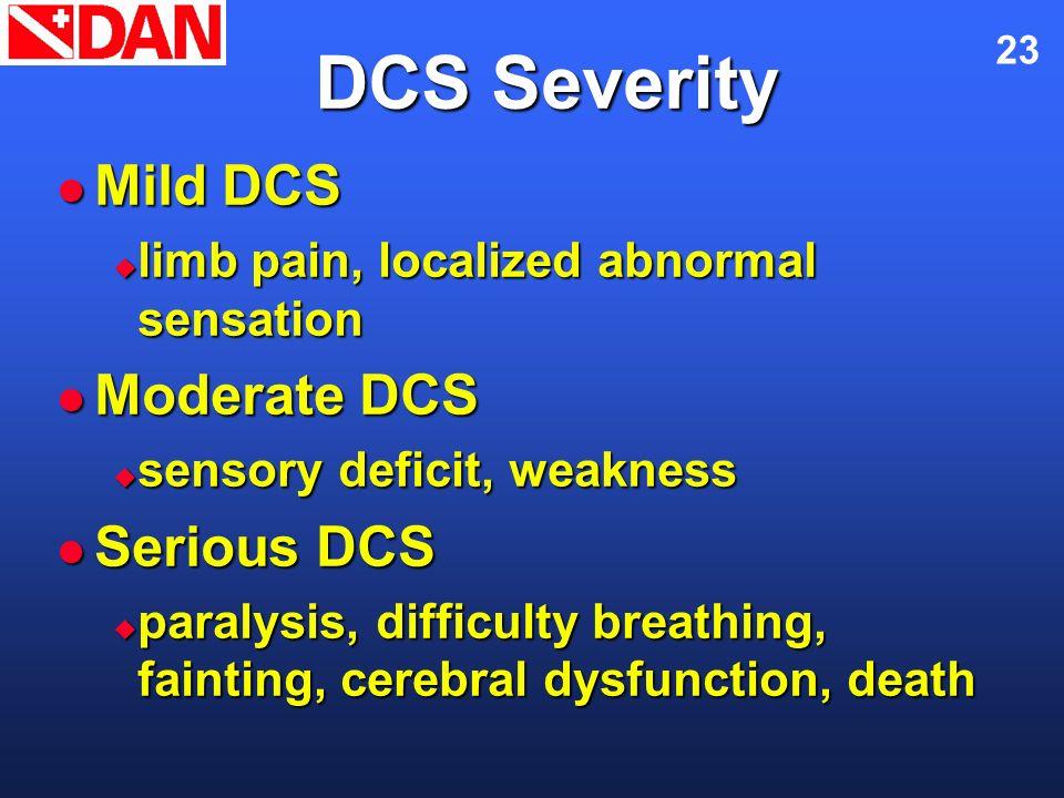 23 DCS Severity Mild DCS Mild DCS limb pain, localized abnormal sensation limb pain, localized abnormal sensation Moderate DCS Moderate DCS sensory de
