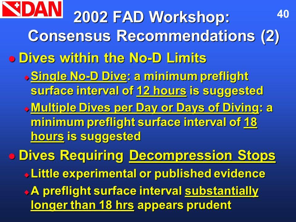 40 2002 FAD Workshop: Consensus Recommendations (2) Dives within the No-D Limits Dives within the No-D Limits Single No-D Dive: a minimum preflight su
