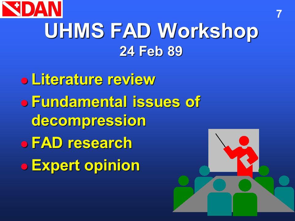 7 UHMS FAD Workshop 24 Feb 89 Literature review Literature review Fundamental issues of decompression Fundamental issues of decompression FAD research