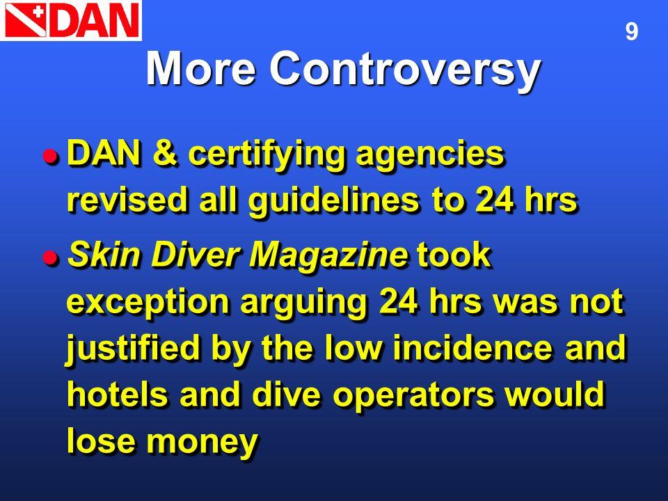 9 More Controversy DAN & certifying agencies revised all guidelines to 24 hrs DAN & certifying agencies revised all guidelines to 24 hrs Skin Diver Ma
