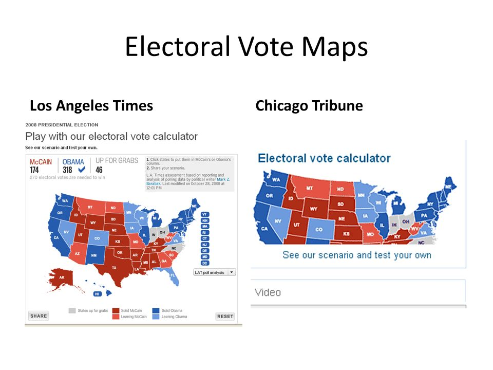 Electoral Vote Maps Los Angeles TimesChicago Tribune
