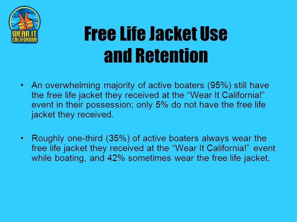 Free Life Jacket Use and Retention An overwhelming majority of active boaters (95%) still have the free life jacket they received at the Wear It California.