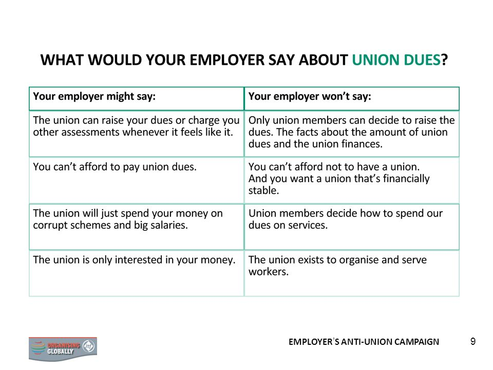 EMPLOYER S ANTI-UNION CAMPAIGN 9