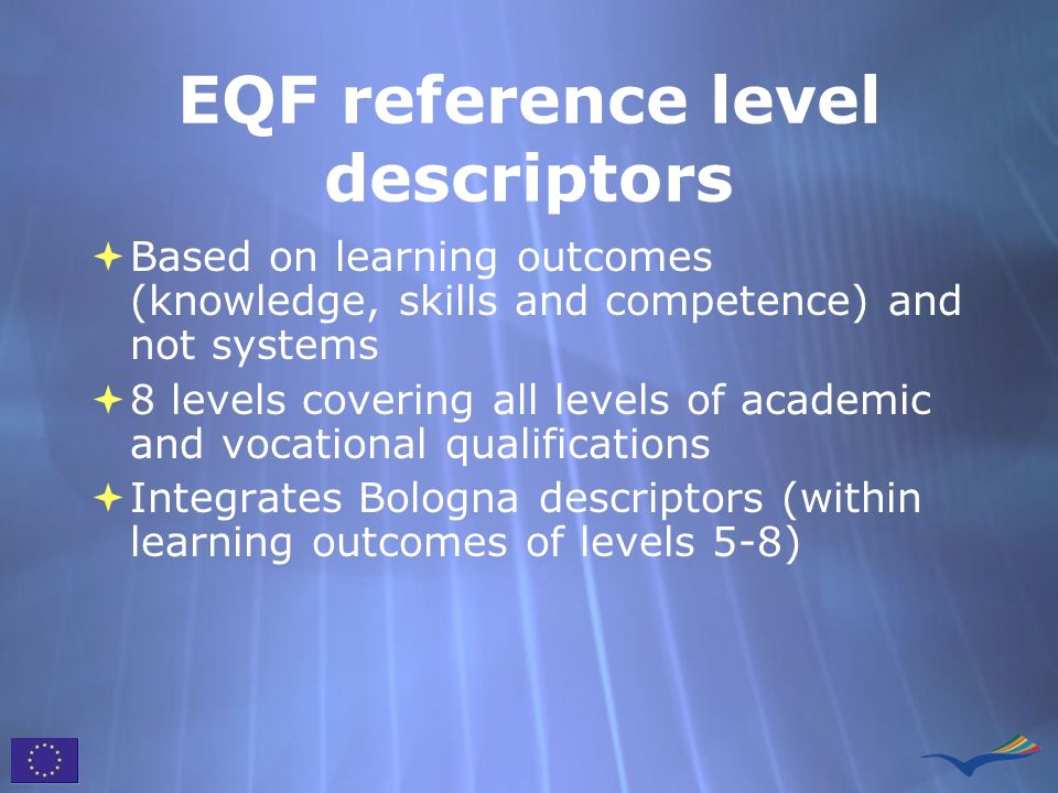 EQF reference level descriptors Based on learning outcomes (knowledge, skills and competence) and not systems 8 levels covering all levels of academic