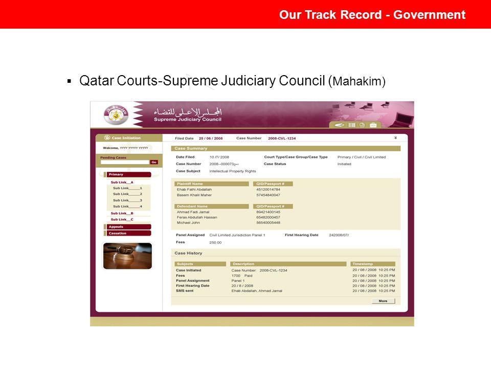 Our Track Record - Government Qatar Courts-Supreme Judiciary Council ( Mahakim) Our Track Record - Government