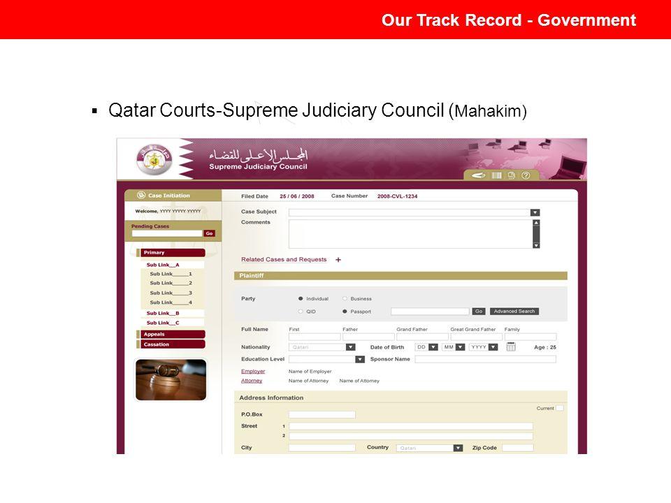 Qatar Courts-Supreme Judiciary Council ( Mahakim) Our Track Record - Government
