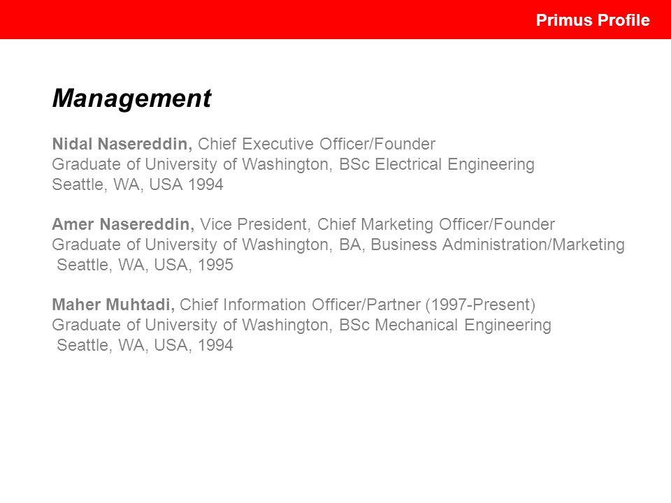 Management Nidal Nasereddin, Chief Executive Officer/Founder Graduate of University of Washington, BSc Electrical Engineering Seattle, WA, USA 1994 Am