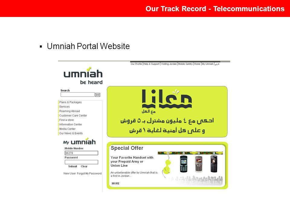Our Track Record - Telecommunications Umniah Portal Website