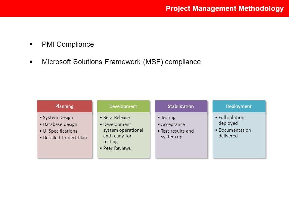 PMI Compliance Microsoft Solutions Framework (MSF) compliance
