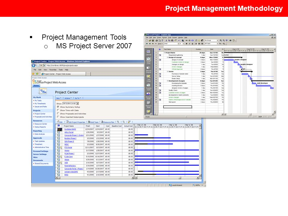 Project Management Methodology Project Management Tools o MS Project Server 2007