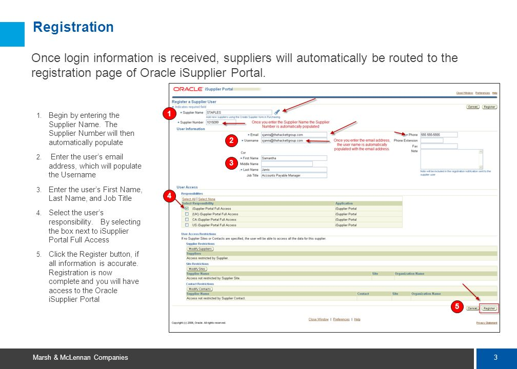 2 Marsh & McLennan Companies Oracle iSupplier Portal Overview At launch, select suppliers will be able to use iSupplier to: – View contact information