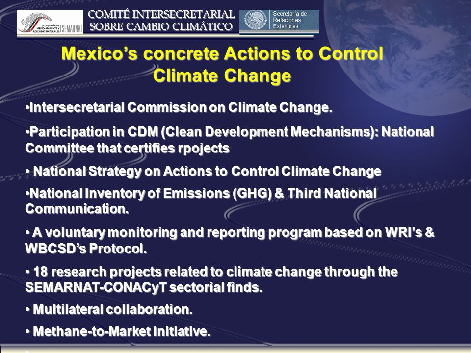 COMITÉ INTERSECRETARIAL SOBRE CAMBIO CLIMÁTICO CDM Projects Number Estimated Reduction 1000 TONS CO2 eq.