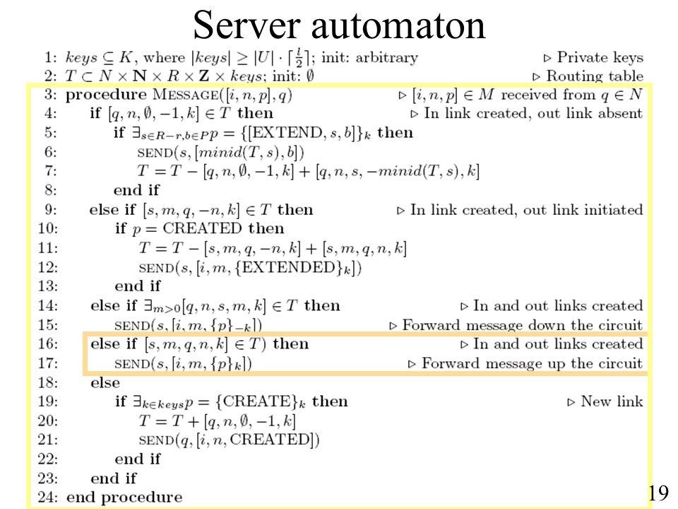 Server automaton 19