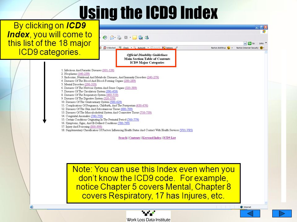 Using the ICD9 Index By clicking on ICD9 Index, you will come to this list of the 18 major ICD9 categories. Note: You can use this Index even when you