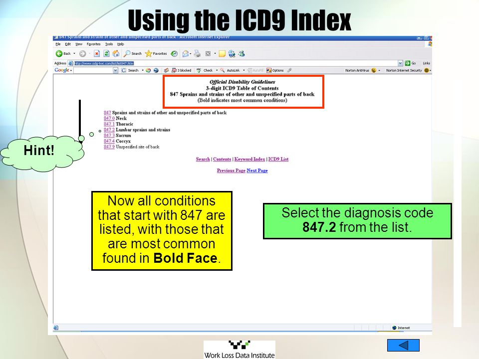 Using the ICD9 Index Now all conditions that start with 847 are listed, with those that are most common found in Bold Face. Select the diagnosis code