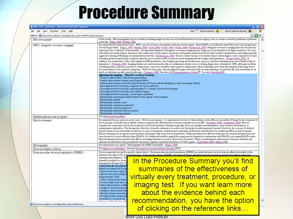 Procedure Summary In the Procedure Summary youll find summaries of the effectiveness of virtually every treatment, procedure, or imaging test. If you
