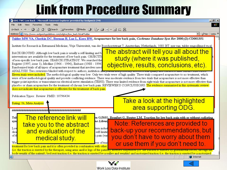 Link from Procedure Summary The reference link will take you to the abstract and evaluation of the medical study. Take a look at the highlighted area