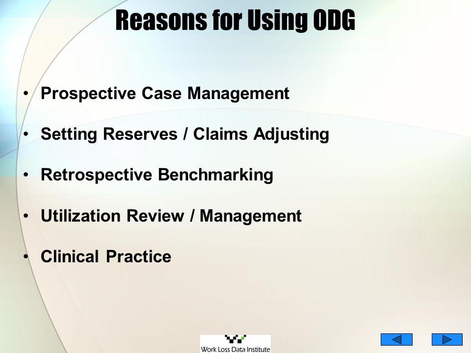 Reasons for Using ODG Prospective Case Management Setting Reserves / Claims Adjusting Retrospective Benchmarking Utilization Review / Management Clini