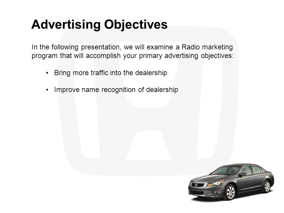 Competitive Analysis Competitive Advantages An important goal in this marketing plan is to help you maximize the following advantages: Large inventory of new and used cars Complete service and parts department Competitive pricing Well-trained sales staff