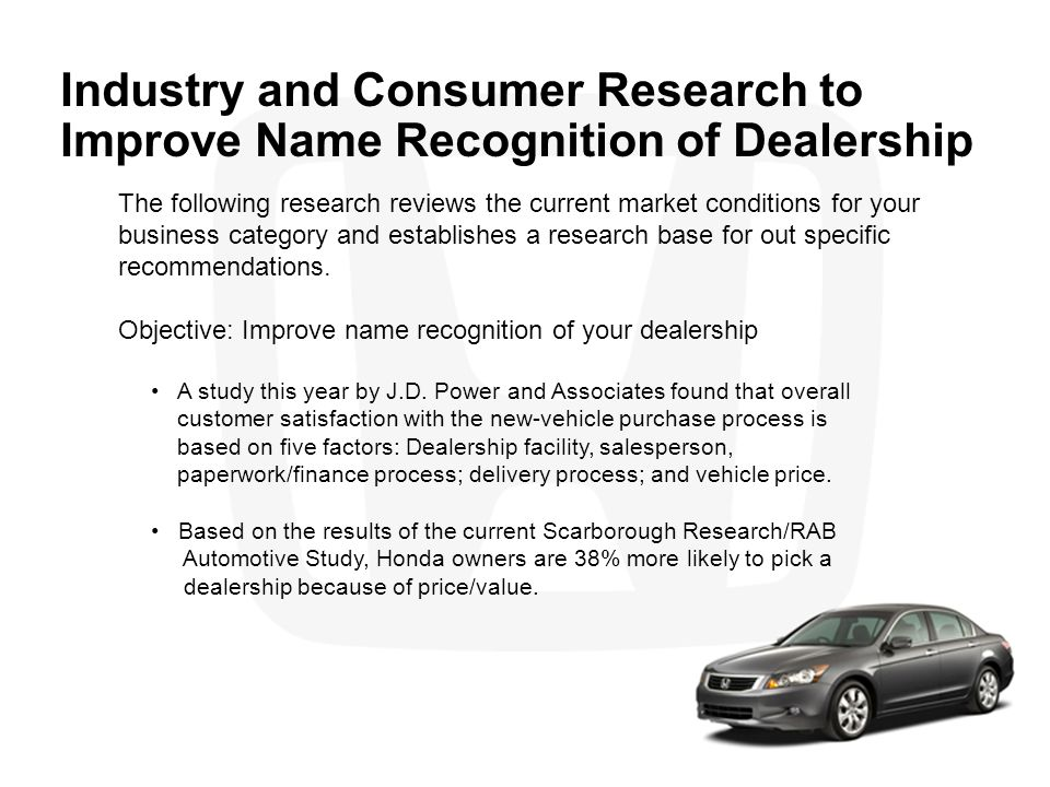 Industry and Consumer Research to Improve Name Recognition of Dealership The following research reviews the current market conditions for your busines