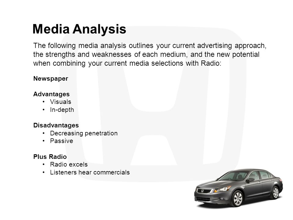 Benefits of Advertising on Radio to Bring More Traffic into the Dealership The following research illustrates the value of Radio in achieving your objectives.