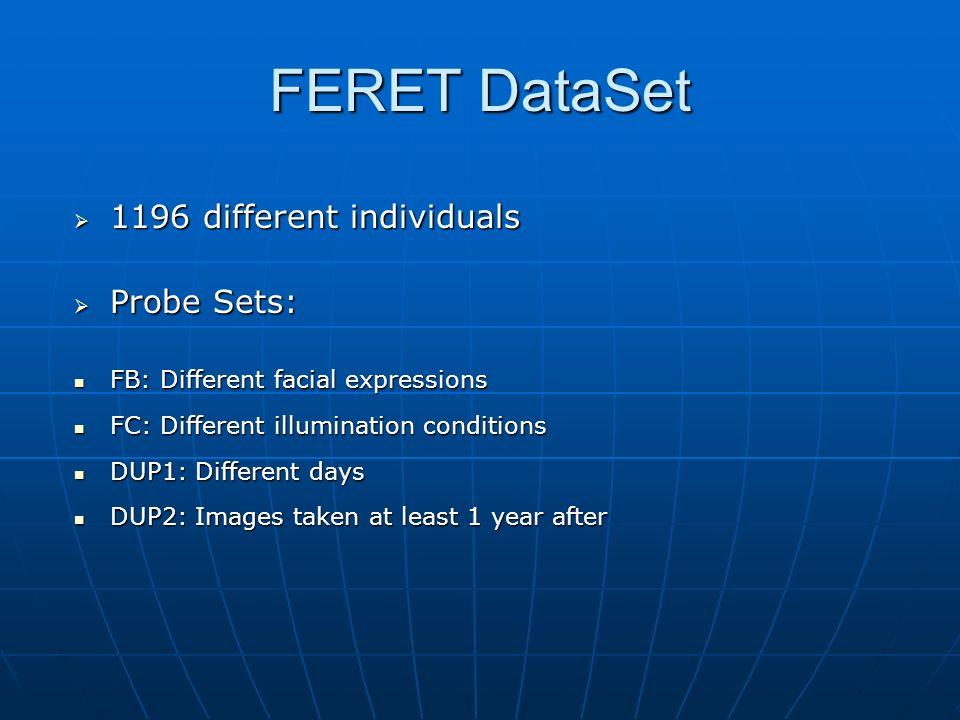 FERET DataSet 1196 different individuals 1196 different individuals Probe Sets: Probe Sets: FB: Different facial expressions FB: Different facial expr