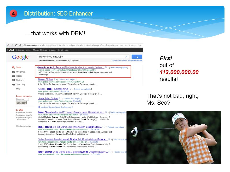 4 First out of 112,000,000.00 results. Distribution: SEO Enhancer Thats not bad, right, Ms.