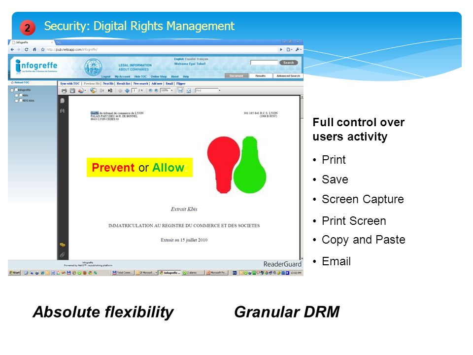 Print Save Screen Capture Print Screen Copy and Paste Email Full control over users activity Prevent or Allow: 2 Granular DRMAbsolute flexibility Security: Digital Rights Management
