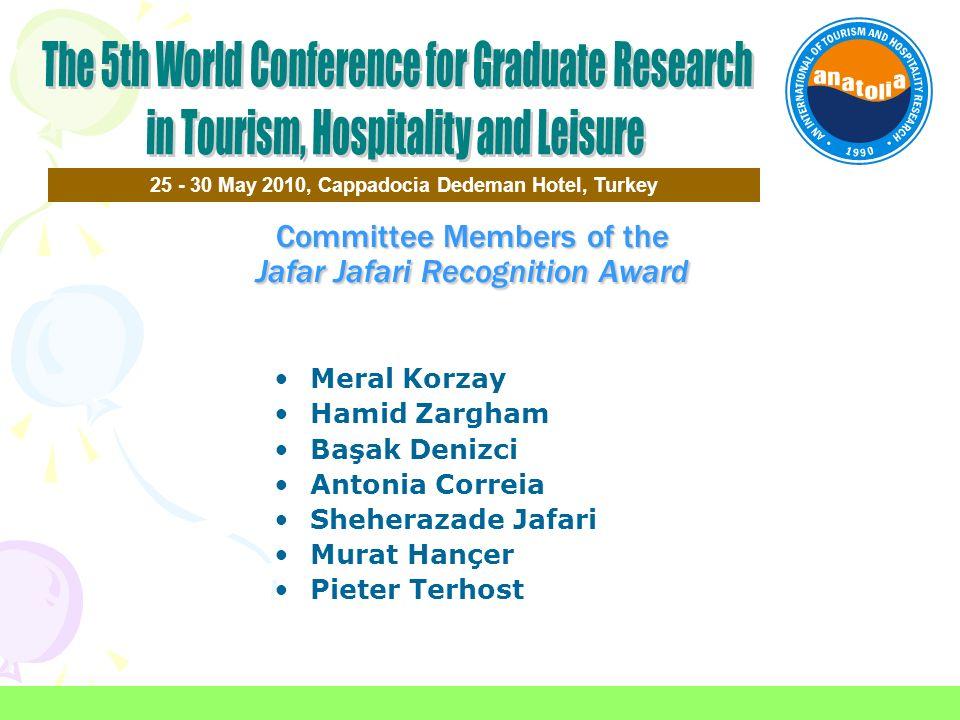 Committee Members of the Jafar Jafari Recognition Award 25 - 30 May 2010, Cappadocia Dedeman Hotel, Turkey Meral Korzay Hamid Zargham Başak Denizci An