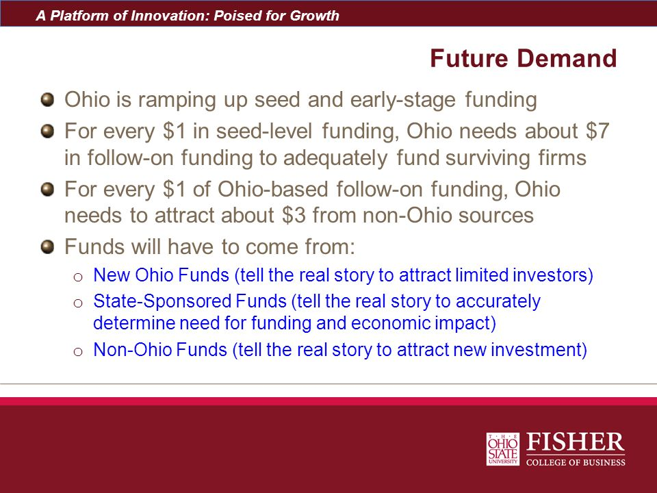 A Platform of Innovation: Poised for Growth Future Demand Ohio is ramping up seed and early-stage funding For every $1 in seed-level funding, Ohio nee