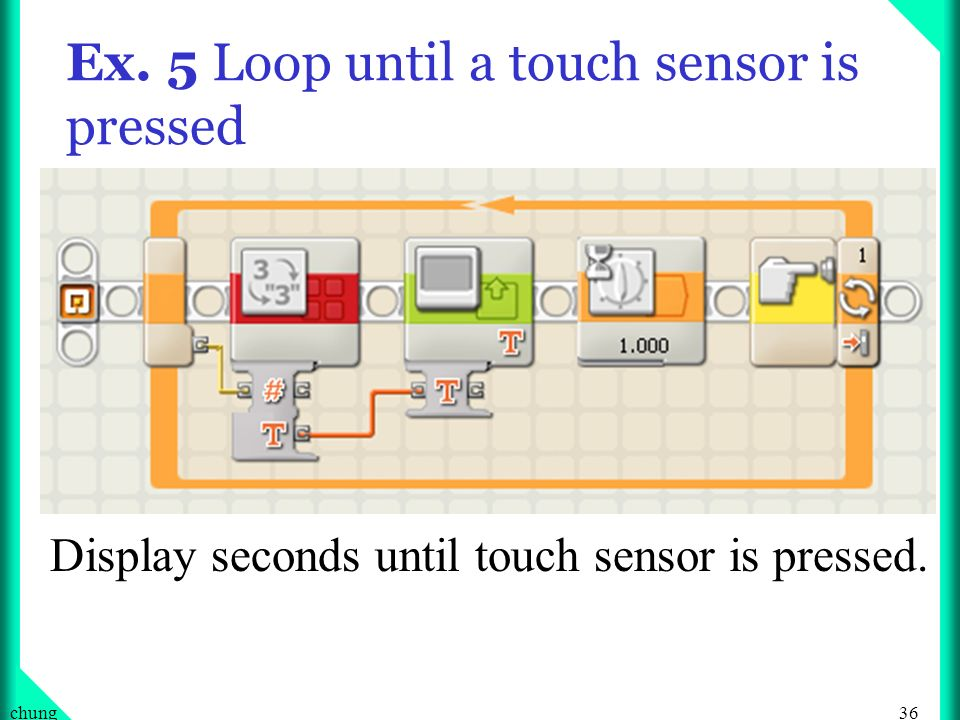 36chung Ex. 5 Loop until a touch sensor is pressed Display seconds until touch sensor is pressed.