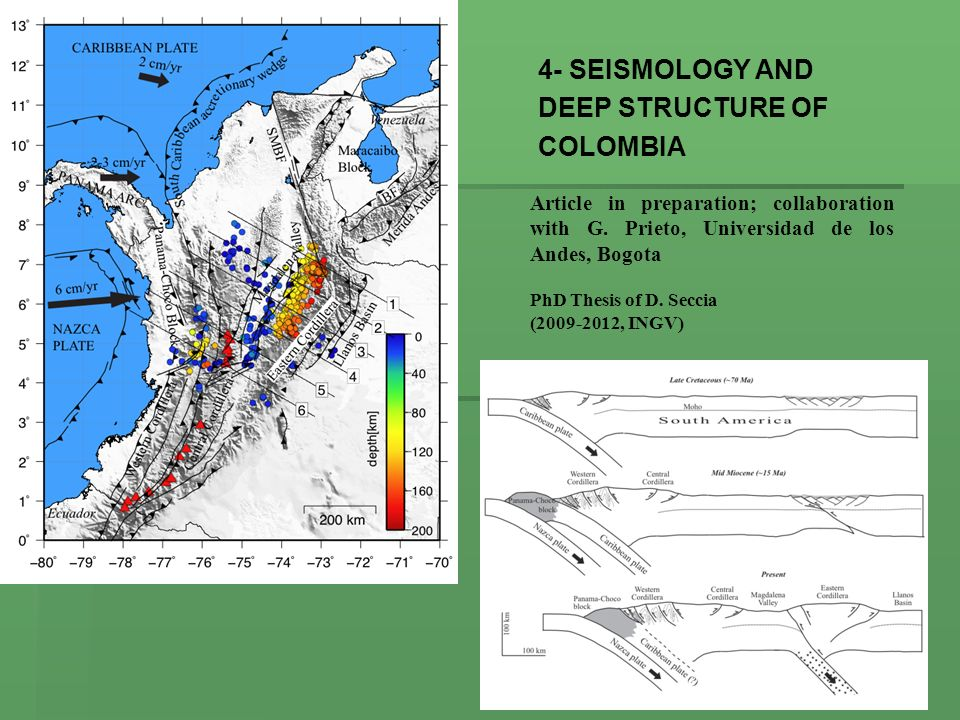 4- SEISMOLOGY AND DEEP STRUCTURE OF COLOMBIA Article in preparation; collaboration with G. Prieto, Universidad de los Andes, Bogota PhD Thesis of D. S