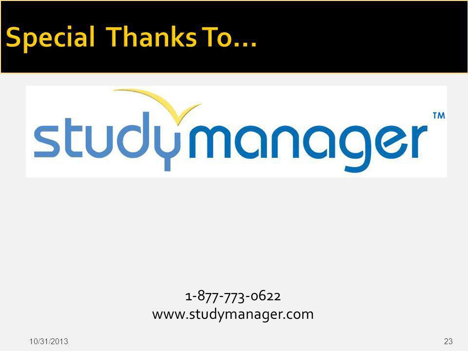 1-877-773-0622 www.studymanager.com 10/31/201323