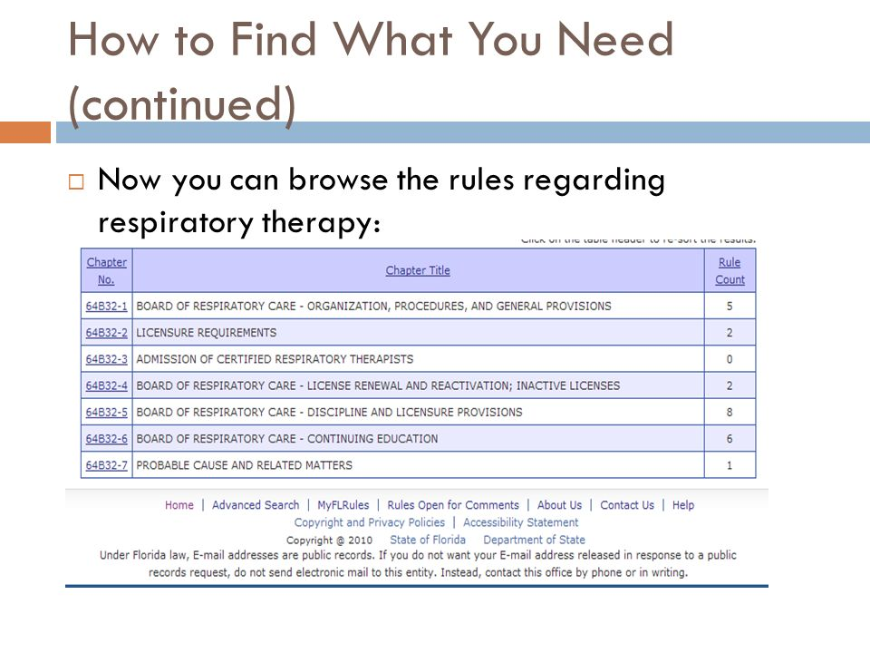 How to Find What You Need (continued) Now you can browse the rules regarding respiratory therapy: