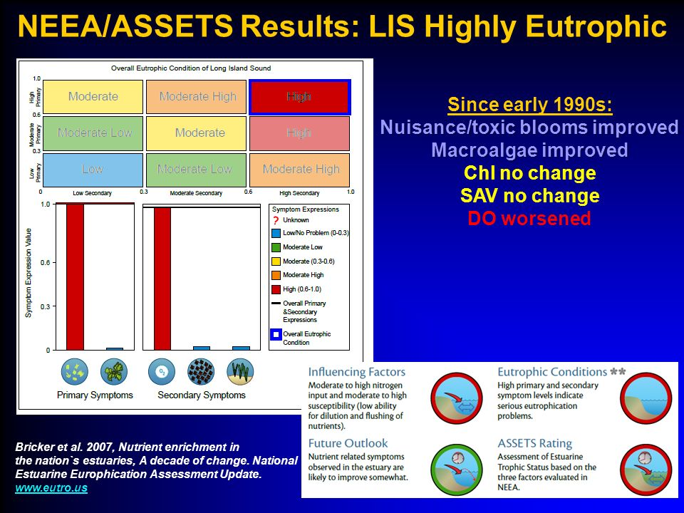 Potential Resolution of Nutrient issues: Long Island Sound TMDL* (Approved by EPA April 2001) l In-basin Nitrogen Reduction Goal –58.5% by 2014 10% reduction to urban and agricultural runoff10% reduction to urban and agricultural runoff 59-64% reduction to point sources59-64% reduction to point sources l Allows Trading of nutrient credits l Out-of-basin Actions –Out of State Sources (10% reduction to runoff, 25% reduction to point sources) –Atmospheric Deposition (Clean Air Act reductions) l Alternatives to nutrient control –Biomass harvesting l Periodic Revision (Adaptive Management) –Evaluation in 2008 *Total Maximum Daily Load