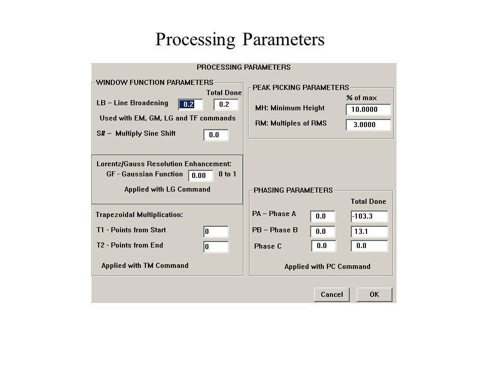 Processing Parameters