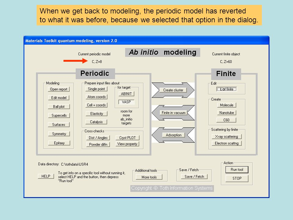 When we get back to modeling, the periodic model has reverted to what it was before, because we selected that option in the dialog.