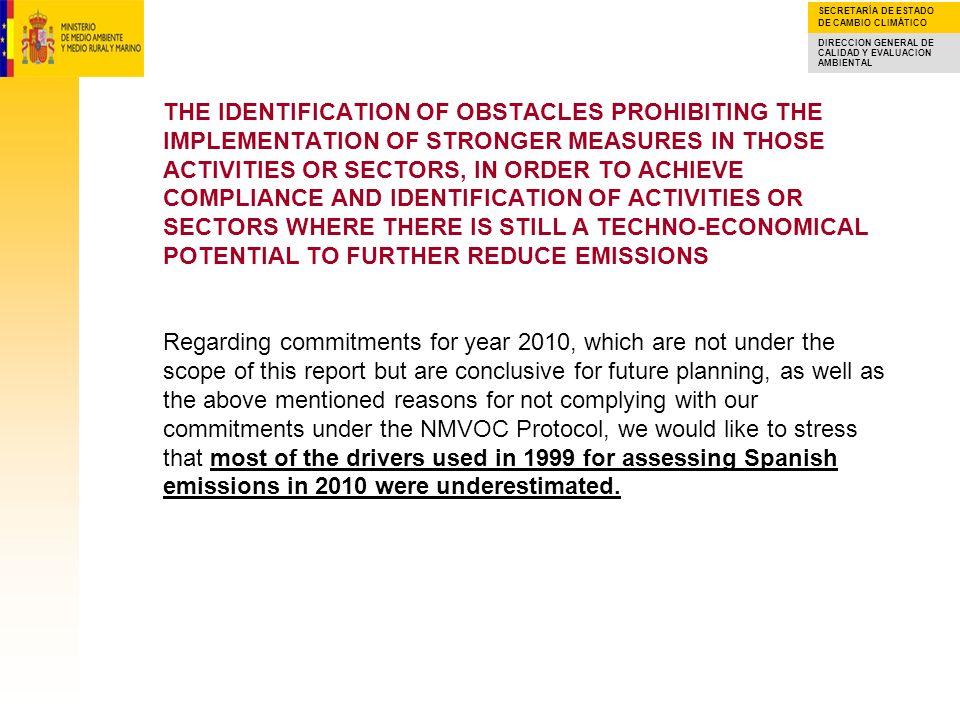 SECRETARÍA DE ESTADO DE CAMBIO CLIMÁTICO DIRECCION GENERAL DE CALIDAD Y EVALUACION AMBIENTAL UNDERSTIMATION OF DRIVERS FOR ASSESING SPANISH EMISSIONS IN YEAR 2010 Got.