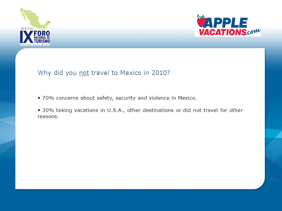 Why did you not travel to Mexico in 2010.