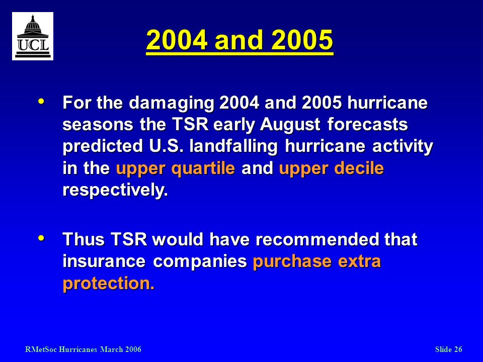 RMetSoc Hurricanes March 2006Slide 26 2004 and 2005 For the damaging 2004 and 2005 hurricane seasons the TSR early August forecasts predicted U.S. lan