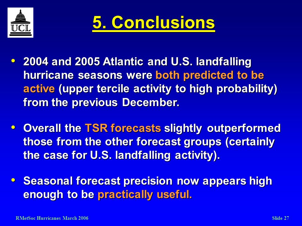 RMetSoc Hurricanes March 2006Slide 27 5. Conclusions 2004 and 2005 Atlantic and U.S. landfalling hurricane seasons were both predicted to be active (u