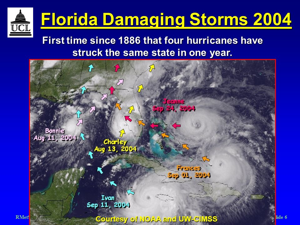 RMetSoc Hurricanes March 2006Slide 6 Florida Damaging Storms 2004 Courtesy of NOAA and UW-CIMSS First time since 1886 that four hurricanes have struck