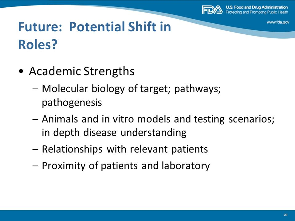 20 Future: Potential Shift in Roles? Academic Strengths –Molecular biology of target; pathways; pathogenesis –Animals and in vitro models and testing