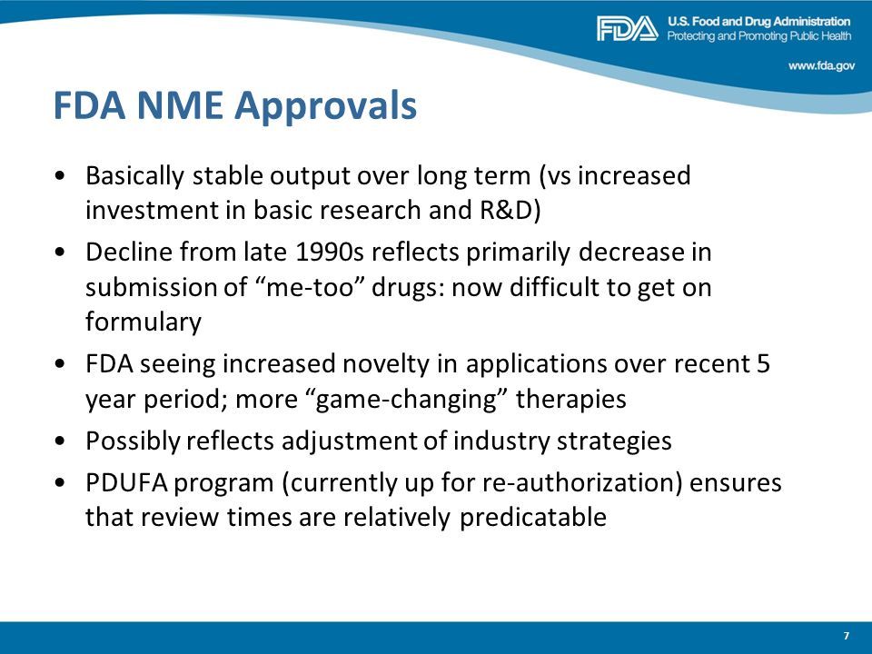 FDA NME Approvals Basically stable output over long term (vs increased investment in basic research and R&D) Decline from late 1990s reflects primaril