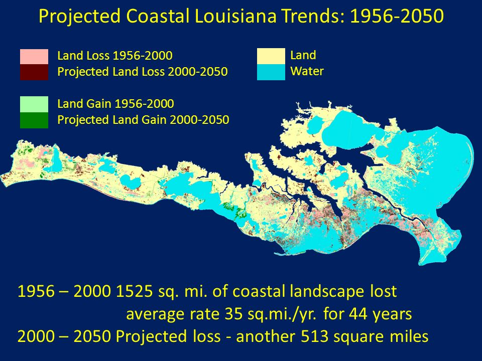 Projected Coastal Louisiana Trends: 1956-2050 Land Water Land Loss 1956-2000 Projected Land Loss 2000-2050 Land Gain 1956-2000 Projected Land Gain 200