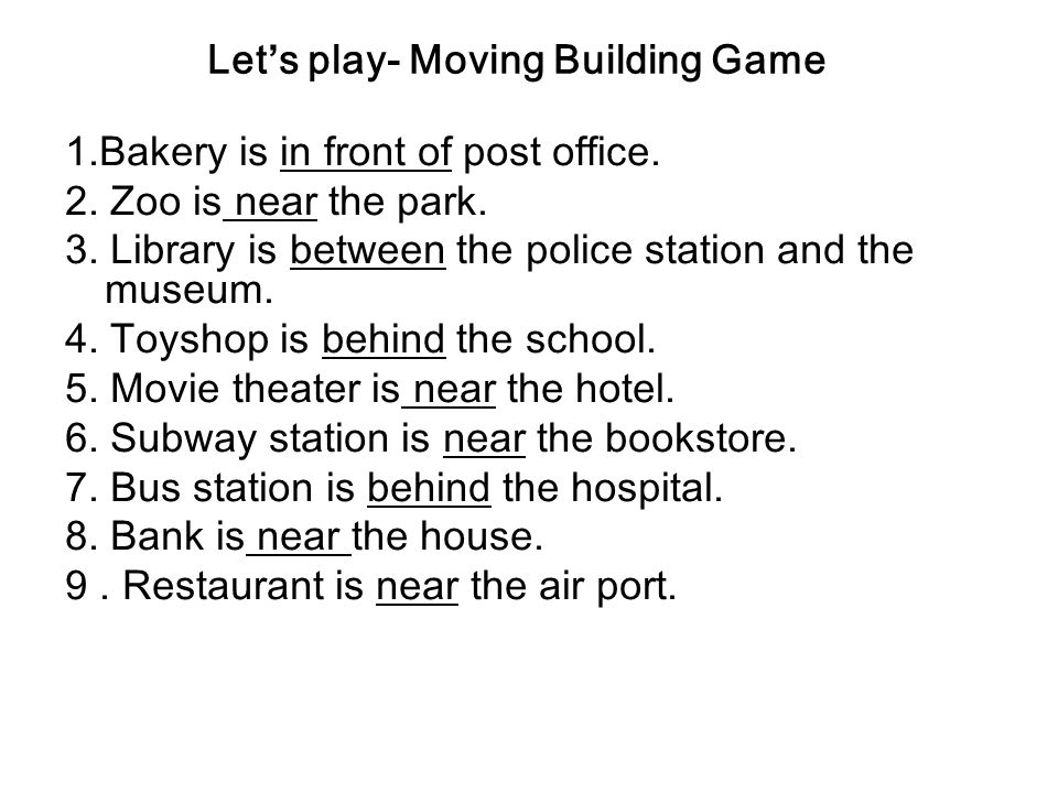 Lets play- Moving Building Game King street Apple street Main street Brown Street Start