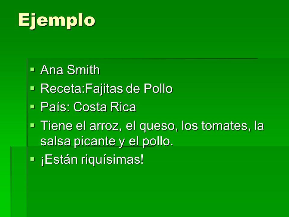 Ejemplo Ana Smith Ana Smith Receta:Fajitas de Pollo Receta:Fajitas de Pollo País: Costa Rica País: Costa Rica Tiene el arroz, el queso, los tomates, l