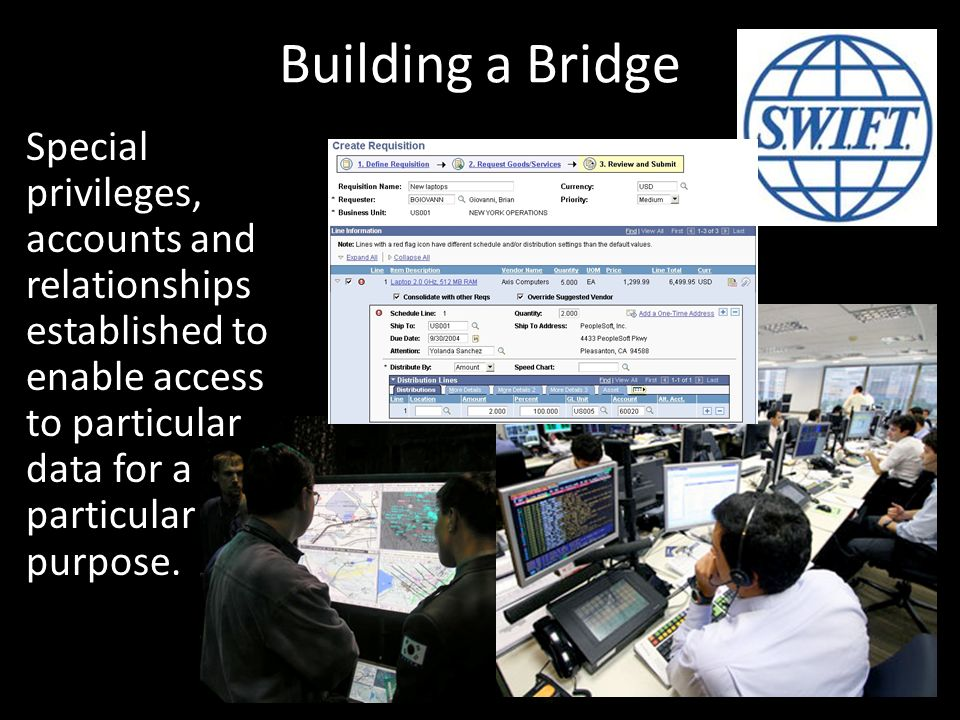 Building a Bridge Special privileges, accounts and relationships established to enable access to particular data for a particular purpose.
