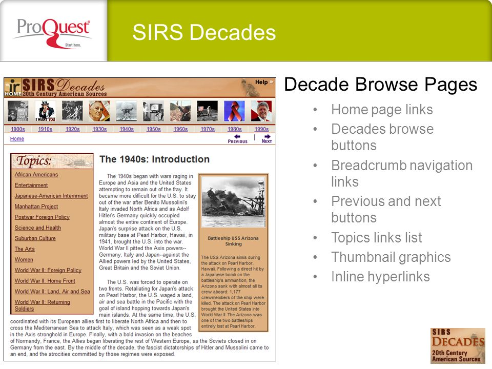 SIRS Decades Home page links Decades browse buttons Breadcrumb navigation links Previous and next buttons Topics links list Thumbnail graphics Inline hyperlinks Decade Browse Pages